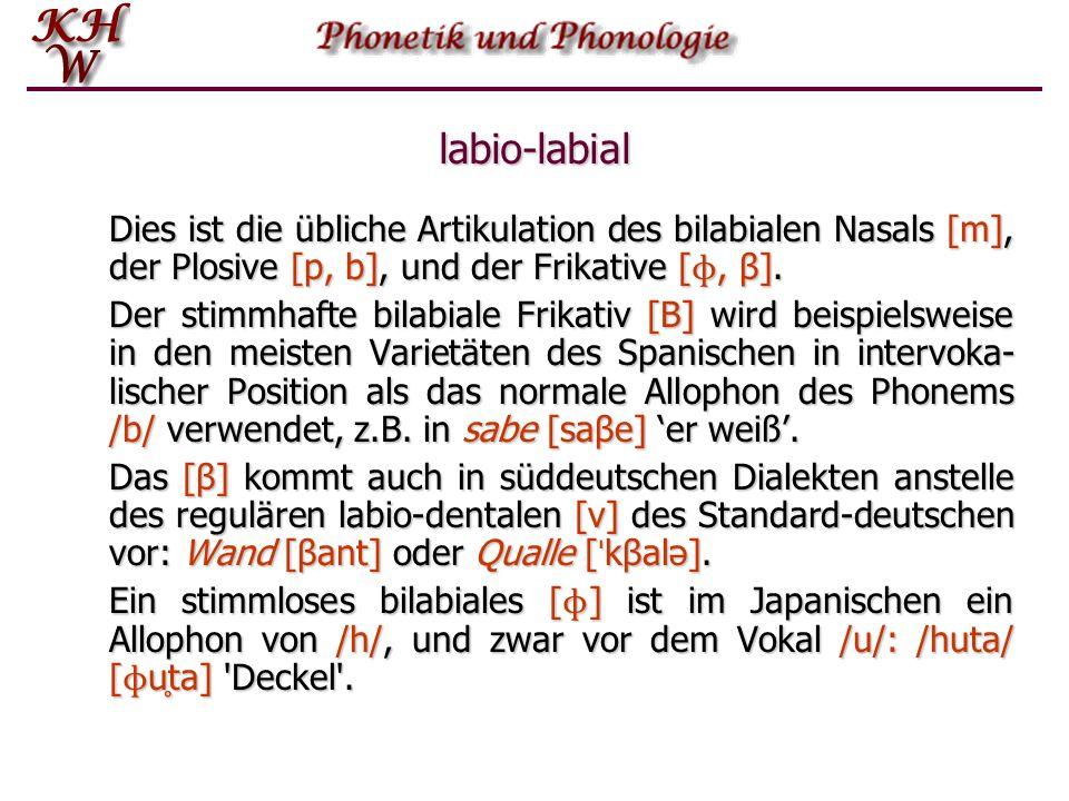 labio-labial Dies ist die übliche Artikulation des bilabialen Nasals [m], der Plosive [p, b], und der Frikative [ɸ, β].